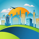 City in the morning royalty free illustration