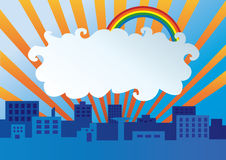 City at morning. Abstract illustration of city in the morning with cloud that can be banner vector illustration