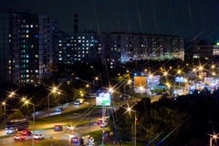 The City Of Moscow. City lights at night in a residential area. Houses, streets and cars Royalty Free Stock Images