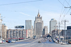 City of Moscow. Cityscape. RUSSIA, MOSCOW - April 10,2014: View of the Borodinsky Bridge over the River Moscow and the building of the Ministry of Foreign Stock Photo
