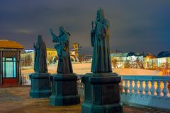 City the Moscow. the monuments of the Patriarchs at the Cathedral of Christ the Savior. City the Moscow.the monuments of the Patriarchs at the Cathedral of royalty free stock image