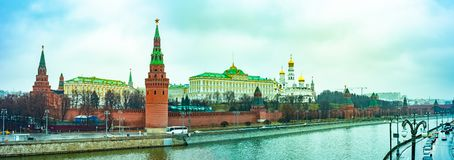 View from the Big Stone bridge ,Grand Kremlin palace..Kremlin embankment. stock photos