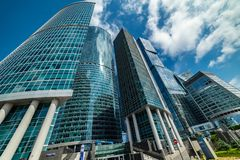 Waterfront tower —  the complex of three buildings of different floors. City the Moscow . Waterfront tower — the complex of three buildings of stock photography