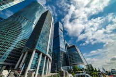 Waterfront tower —  the complex of three buildings of different floors. City the Moscow . Waterfront tower — the complex of three buildings of royalty free stock photography
