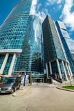 Waterfront tower — the complex of three  buildings of different floors. City the Moscow . Waterfront tower — the complex of three buildings of stock photo