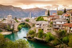 City of Mostar and Neretva River Royalty Free Stock Image