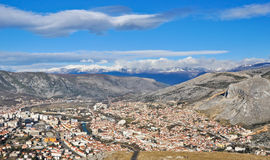 Mostar Skyline. The city of Mostar in the valley of Balkan mountains Stock Photo