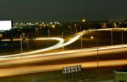 City in Motion. Urban Long Exposure High Traffic Area. Highway Ramp Near O'Hare International Airport in Chicago, IL, USA Stock Image