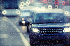 City with motion blur cars Royalty Free Stock Photography