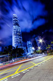 Motion blur of traffic in Hong Kong Stock Images