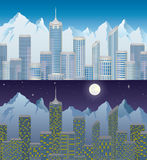 City in mountain at day and night Royalty Free Stock Photos