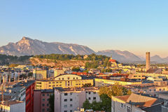 City with mountain Royalty Free Stock Images