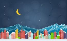 City with mountain at night. Illustration of City with mountain at night Stock Photography
