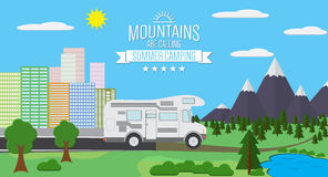 City and Mountains with forest and lake landscape flat vector illustration, concept for holiday and vacation, camping and hiking, Royalty Free Stock Images