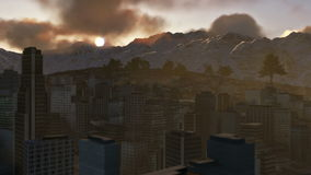 City and Mountains, time lapse sunset. City and Mountains, timelapse sunset stock video footage