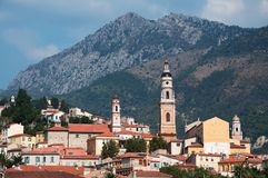 City in the mountains. Town of Menton Stock Image