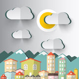 City Mountains Vector with Paper Cut Clouds Stock Photo
