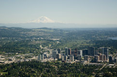 City and Moutain - Aerial. Bellevue,WA and Mt Rainier on sunny summer day Stock Images