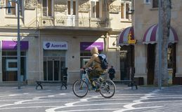 The city in movе, cyclist on street Stock Images