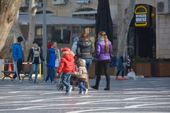 The city in movе, passersby on street Royalty Free Stock Images