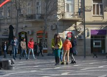 The city in movе, passersby on street Stock Photography