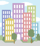 City with multicolored buildings  Stock Photography