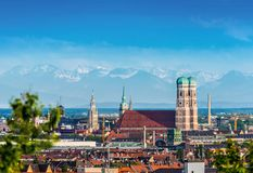 City of Munich, Germany. With Alps Panorama Stock Photography