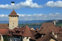 City of Murten, Switzerland stock photos