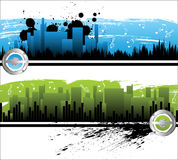 City music. Musical city horizontal banners with grunge elements stock illustration