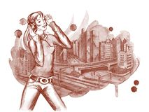 City music. Young girl listening music on background of the city scape Stock Photography