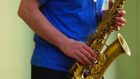 City music saxophone. Saxophone live at jazz on the street of town stock video footage