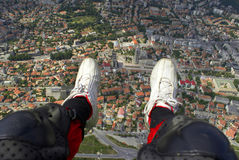 The city is in my legs. A paragliding over Shumen Bulgaria Stock Photography