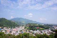 City of myanmar. Top view from Maesai thailand royalty free stock photo
