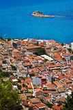 City of Nafplio. Greece. Nafplio. Aerial view of the old part of the city from Palamidi castle. There is Bourtzi Castle in background royalty free stock photography