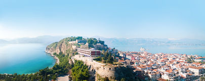 City of Nafplion and Bourtzi fortress Stock Image