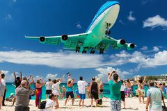 Landing at St. Maarten on 20th February 2015 Stock Images