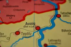 The city name AUSSIG / USTI NAD LABEM on the map. The city name AUSSIG / USTI NAD LABEM,  Czech Republic  on the physical map of the country Royalty Free Stock Image