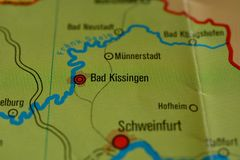 The city name BAD KISSINGEN on the map. The city name BAD KISSINGEN, Germany, on the physical map of the country Royalty Free Stock Photos
