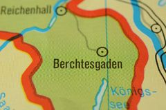 The city name BERCHTESGADEN on the map. The city name BERCHTESGADEN,  Bavaria,  Germany, on the physical map of the country Stock Images