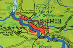 The city name BREMEN n the map. The city name BREMEN, Germany, on the physical map of the country Royalty Free Stock Image
