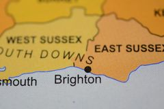 The city name BRIGHTON,  England, on the map. The city name BRIGHTON,  England, on the physical map of the country Royalty Free Stock Images