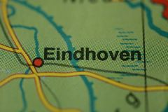 The city name EINDHOVEN on the map. The city name EINDHOVEN,  Netherlands on the physical map of the country Stock Image