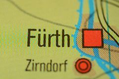 The city name FÜRTH,  near Nuremberg,  germany, on the map. The city name FÜRTH,  NEAR Nuremberg,  Bavaria, Germany, on the physical map of the country Royalty Free Stock Photo