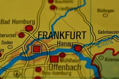 The city name FRANKFURT on the map. The city name FRANKFURT on the Main on the physical map of the country Royalty Free Stock Photo