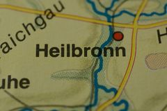 The city name HEILBRONN on the map. The city name HEILBRONN, Germany, on the physical map of the country Royalty Free Stock Photos