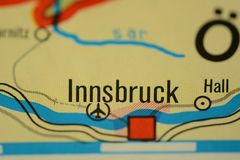 The city name INNSBRUCK on the map. The city name INNSBRUCK, Austria, on the physical map of the country Royalty Free Stock Image