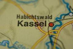 The city name KASSEL on the map. The city name KASSEL,  Germany, on the physical map of the country Royalty Free Stock Images