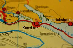 The city name KONSTANZ on the map. The city name KONSTANZ, Germany, on the physical map of the country Royalty Free Stock Photo