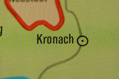 The city name KRONACH on the map. The city name KRONACH, Bavaria,  region upper Franconia  Germany, on the physical map of the country Royalty Free Stock Image