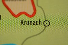 The city name KRONACH on the map. The city name KRONACH, Bavaria,  region upper Franconia  Germany, on the physical map of the country Royalty Free Stock Photos